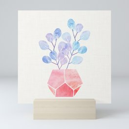 Blue Eucalyptus With Pink Terra Cotta Mini Art Print