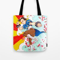 street fighter Tote Bags featuring Chunli Street Fighter by Aimee Steinberger