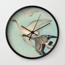 Geese flying in formation - Vintage Japanese Woodblock Print Art Wall Clock