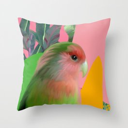 Love Bird with Palms Throw Pillow