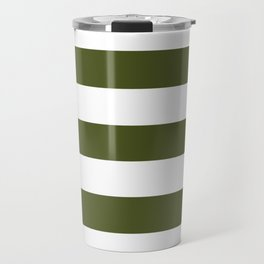 Army green - solid color - white stripes pattern Travel Mug
