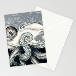 Octopus Compass Grey Ink Stationery Cards