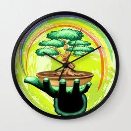 Bonsai Tree and Rainbow on Green Hand - Protecting Nature Wall Clock