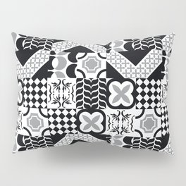 Black & White Mixed Square Tiles Patterns Pillow Sham