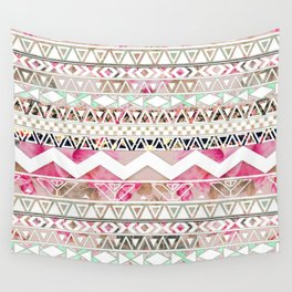 Aztec Spring Time! | Girly Pink White Floral Abstract Aztec Pattern Wall Tapestry