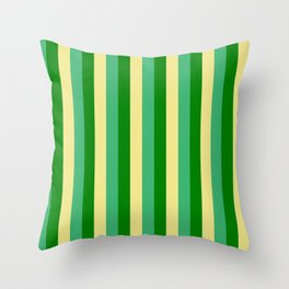 Tan, Sea Green & Green Colored Lines Pattern Throw Pillow