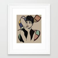 hepburn Framed Art Prints featuring hepburn by Jessica Brophy