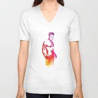 tyler durden V-neck T-shirts featuring Tyler Durden Fight Stance by Jon Hernandez