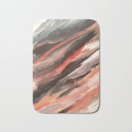 Moving Mountains: an abstract mixed media piece in contrasting pinks, purples, blues, and whites Bath Mat