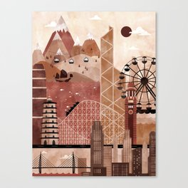 Hong Kong Travel Poster Illustration Canvas Print