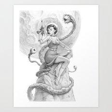 Astro Babe B&W Art Print