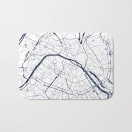 Paris France Minimal Street Map - Navy Blue and White Bath Mat