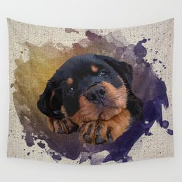 Cute Rottweiler Puppy Wall Tapestry