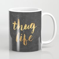 2pac Mugs featuring Thug Life by Text Guy