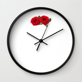 Aesthetic Rose with Japanese text Gift Vaporwave Red Roses Wall Clock