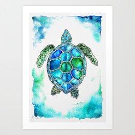 turtle in watercolors Art Print