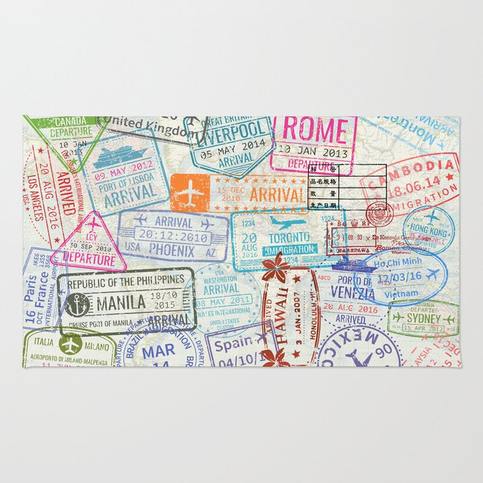 Vintage World Map with Passport Stamps Rug