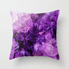 Purple Amethyst Crystals Throw Pillow