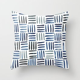 Indigo Crosshatch Pattern Throw Pillow