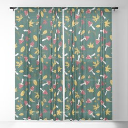 fly agaric and autumn leaves Sheer Curtain
