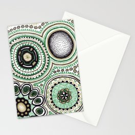 Green and Gold Rings Stationery Cards