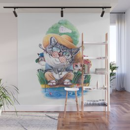 A cat family on the summer holiday Wall Mural