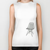 eames Biker Tanks featuring Eames Wire Chair by Green Bird Press