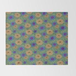 Leafy Green Floral Pattern Throw Blanket