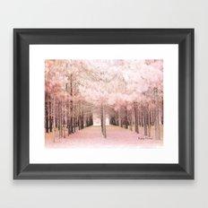 Pink Nature Woodlands Trees Baby Girl Nursery Decor Framed Art Print