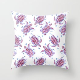 """Watercolor Painting of Picture """"Decorative Turtles"""" Throw Pillow"""
