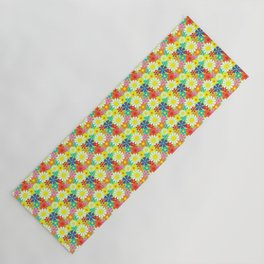 Retro Hippie Daisies and Flowers Pattern Yoga Mat