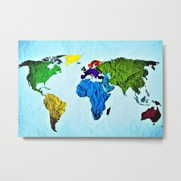 Map of the World in Color by Jeanpaul Ferro Metal Print