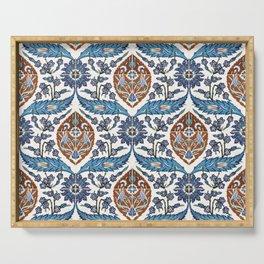 Iznik Tile Pattern Blue White Brown Serving Tray