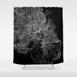 Copenhagen Black Map Shower Curtain