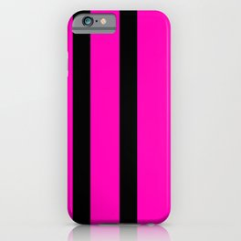 Hot Pink with Black Stripes iPhone Case