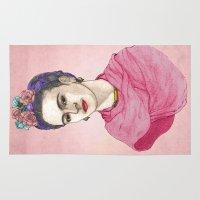frida kahlo Area & Throw Rugs featuring Frida Kahlo by Barruf