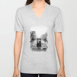 Tardis And The Old City Unisex V-Neck
