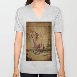 vintage newspaper print paris eiffel tower pin up girl Unisex V-Neck