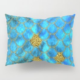Blue Aqua Turquoise And Gold Glitter Mermaid Scales -Beautiful Mermaidscales Pattern Pillow Sham