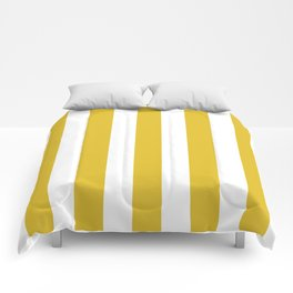 Durian Yellow - solid color - white vertical lines pattern Comforters