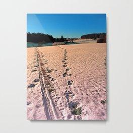 Footprints in snowy winter wonderland   landscape photography Metal Print