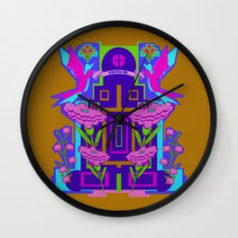 Temple of Flowers Wall Clock