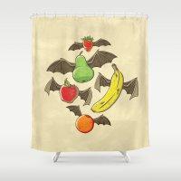bats Shower Curtains featuring Fruit Bats by WanderingBert / David Creighton-Pester