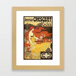 Vintage American art nouveau Bicycles ad Framed Art Print