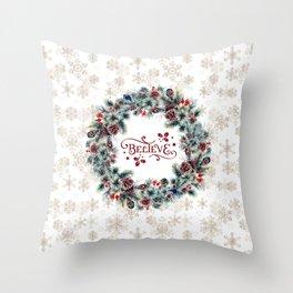 Elegant Believe Typography Christmas Wreath Gold Snowflakes Throw Pillow
