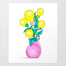 Pen and Ink Drawing - Water Your Idea Plant Art Print