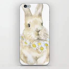 Bunny Rabbit with Daisy Wreath Watercolor iPhone Skin