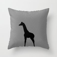 Giraffe Psychedelic Silhouette  Throw Pillow