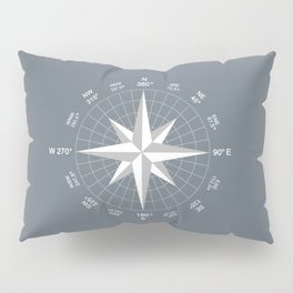 Compass in White on Slate Grey color Pillow Sham