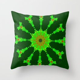 Lovely Healing Mandalas in Brilliant Colors: Hunter Green, Bright Green, Red, and Yellow Throw Pillow
